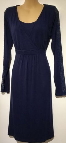 JOJO MAMAN BEBE NAVY BLUE LACE SLEEVE JERSEY DRESS SIZE M UK 12